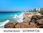 aegean beach with sunshades in... | Shutterstock . vector #1078949726