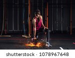 athletic girl works out at the... | Shutterstock . vector #1078967648