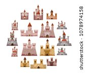 castle tower icons set. cartoon ... | Shutterstock .eps vector #1078974158