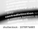 Small photo of contradistinction word in a dictionary. contradistinction concept