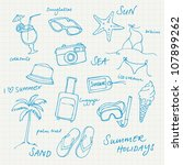 summer vacation holiday icons... | Shutterstock .eps vector #107899262