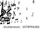 black musical notes on white... | Shutterstock .eps vector #1078996382