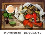 grilled vegetables with smoked... | Shutterstock . vector #1079022752