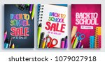 back to school sale vector... | Shutterstock .eps vector #1079027918