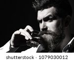 portrait of man with thick... | Shutterstock . vector #1079030012