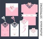 wedding set. pink cutout... | Shutterstock .eps vector #1079032562