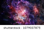 cosmic galaxy background with... | Shutterstock . vector #1079037875