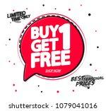buy 1 get 1 free  sale speech... | Shutterstock .eps vector #1079041016
