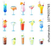 tropical alcohol cocktails... | Shutterstock .eps vector #1079055785