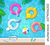 swimming pool with colorful... | Shutterstock .eps vector #1079056202