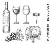 wine sketch vector illustration....   Shutterstock .eps vector #1079067395