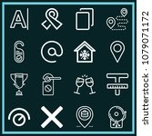 set of 16 signs outline icons...   Shutterstock .eps vector #1079071172
