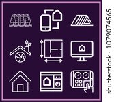 set of 9 home outline icons... | Shutterstock .eps vector #1079074565