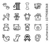set of 16 animals outline icons ... | Shutterstock .eps vector #1079088368