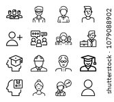 set of 16 user outline icons... | Shutterstock .eps vector #1079088902
