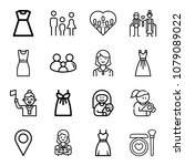 set of 16 woman outline icons... | Shutterstock .eps vector #1079089022
