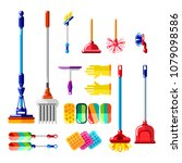 household cleaning tools and... | Shutterstock .eps vector #1079098586