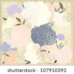 greeting card with peony....   Shutterstock . vector #107910392