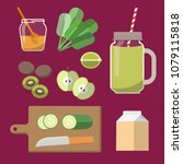 green smoothie or milkshake in... | Shutterstock .eps vector #1079115818