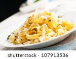 tagliatelle with parmesan and... | Shutterstock . vector #107913536