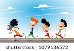 cartoon multiracial children... | Shutterstock .eps vector #1079136572