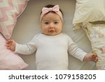beautiful baby girl with a... | Shutterstock . vector #1079158205