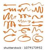 set of orange drawing arrows.... | Shutterstock .eps vector #1079173952