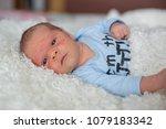little newborn baby looking ... | Shutterstock . vector #1079183342