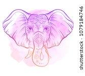 vector african elephant in... | Shutterstock .eps vector #1079184746