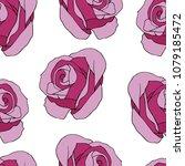 Stock vector dark purple roses seamless pattern 1079185472