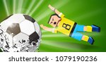 soccer player jumps for th...ll ... | Shutterstock .eps vector #1079190236