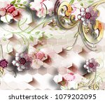 3d flowers abstraction... | Shutterstock . vector #1079202095
