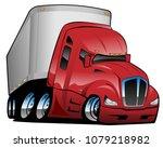semi truck with trailer cartoon ... | Shutterstock .eps vector #1079218982