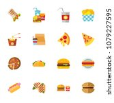 fast food collection. colorful... | Shutterstock .eps vector #1079227595