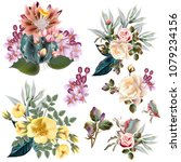 collection of vector flowers ... | Shutterstock .eps vector #1079234156