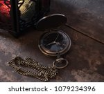 old pocket watch with ramadhan... | Shutterstock . vector #1079234396
