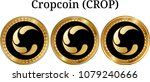 set of physical golden coin... | Shutterstock .eps vector #1079240666