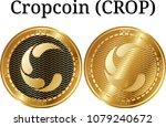 set of physical golden coin... | Shutterstock .eps vector #1079240672
