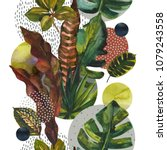 watercolor exotic leaves on... | Shutterstock . vector #1079243558
