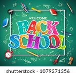 green chalkboard background... | Shutterstock .eps vector #1079271356