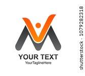 initial letter vm logo template ...   Shutterstock .eps vector #1079282318