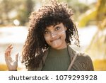 pretty woman is surprised on a... | Shutterstock . vector #1079293928