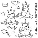 vector cute  unicorn cartoons... | Shutterstock .eps vector #1079303078