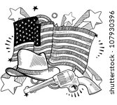 Doodle style American cowboy or Wild West objects in front of an American flag background - stock vector