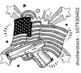 Doodle style Second Amendment handgun or pistol illustration on a patriotic American flag background. American love for guns. - stock vector