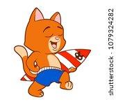 cat and surfboard | Shutterstock . vector #1079324282