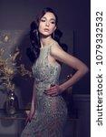 young elegant woman in long... | Shutterstock . vector #1079332532
