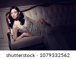 young elegant woman in long... | Shutterstock . vector #1079332562