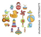 kids toys icons set. cartoon... | Shutterstock .eps vector #1079336075