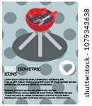 bbq color isometric poster | Shutterstock .eps vector #1079343638